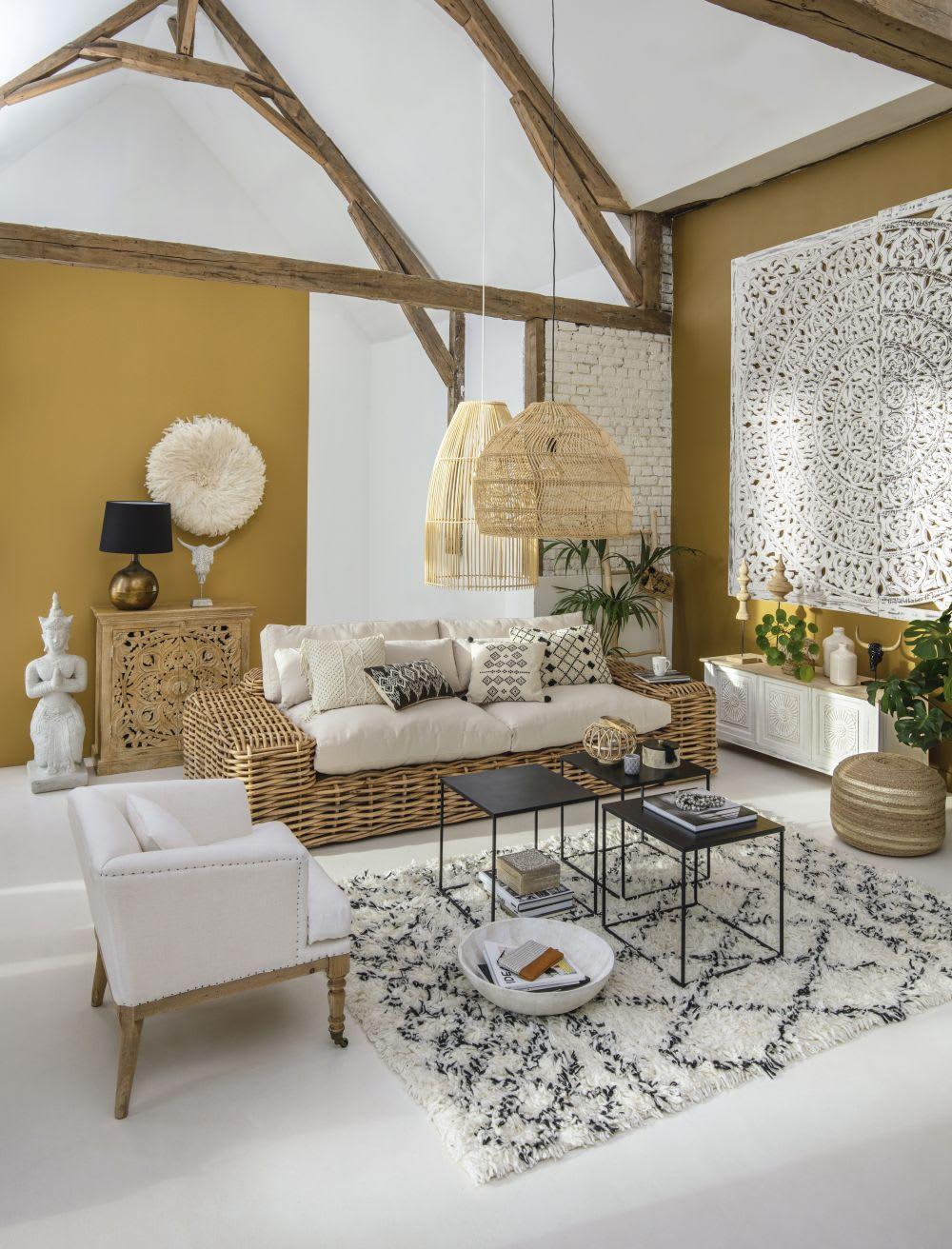 Cuscini Bianchi E Neri cuscino écru in lana e cotone con motivi neri 40x60cm | maisons du monde