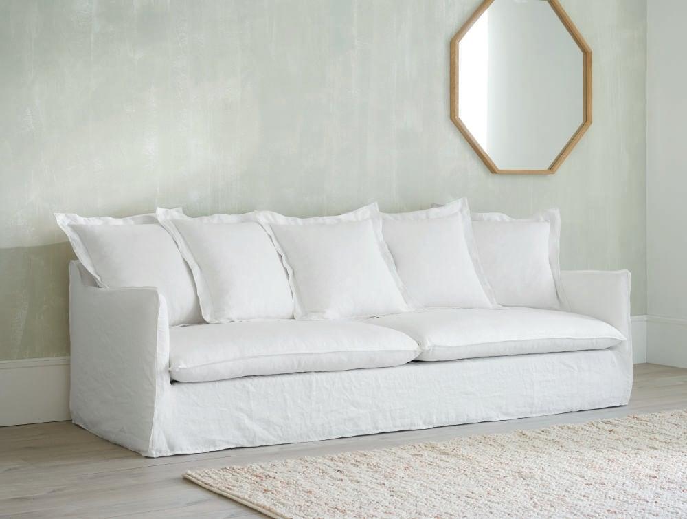 Divano In Lino Bianco : Divano bianco in lino slavato 5 posti barcelone maisons du monde