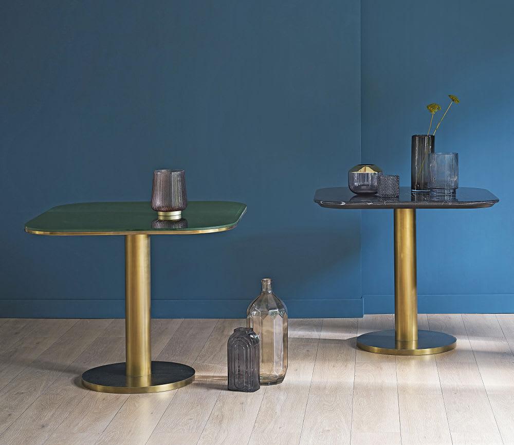 Plateau De Table En Pierre Naturelle plateau de table en pierre effet marbre noir 4 personnes l90