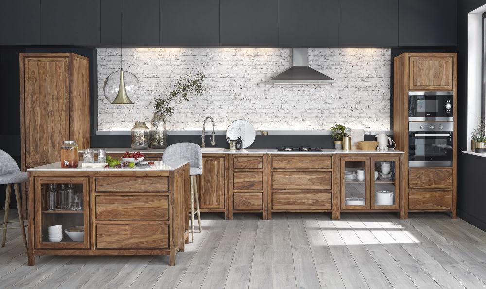 Küchen-Unterschrank mit Spülbecken aus massivem Sheeshamholz und Marmor