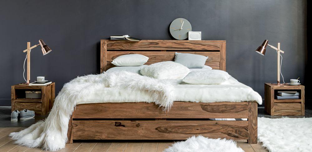 Letto 140 x 190 in massello di legno di sheesham Stockholm | Maisons ...