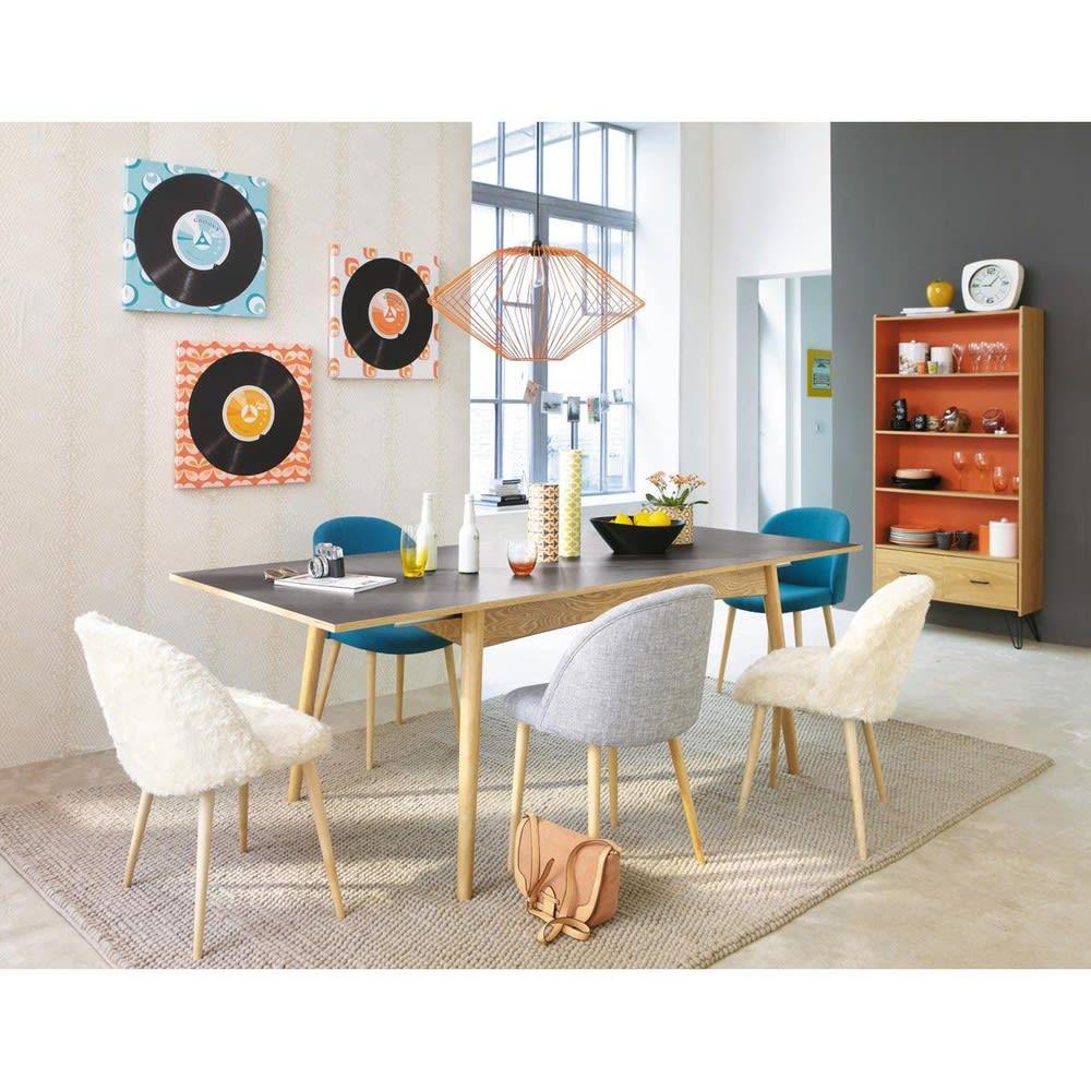 chaise vintage bleu p trole et bouleau massif mauricette. Black Bedroom Furniture Sets. Home Design Ideas