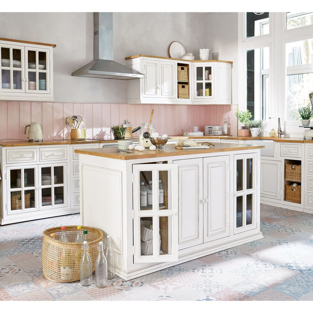 Mueble alto de cocina acristalado de madera de mango color marfil An. 70 cm