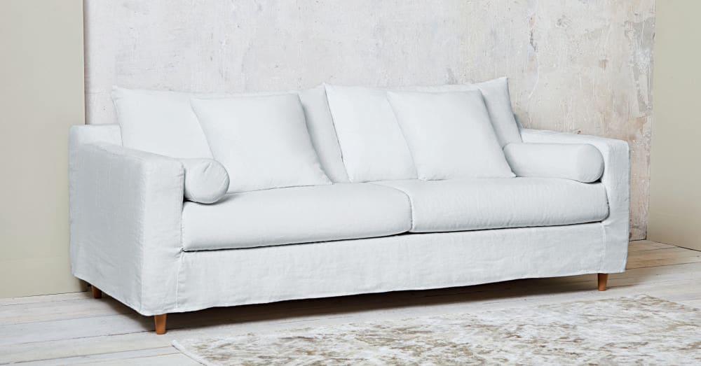 Divano In Lino Bianco : Divano letto 4 posti bianco in lino lavato francisco maisons du monde