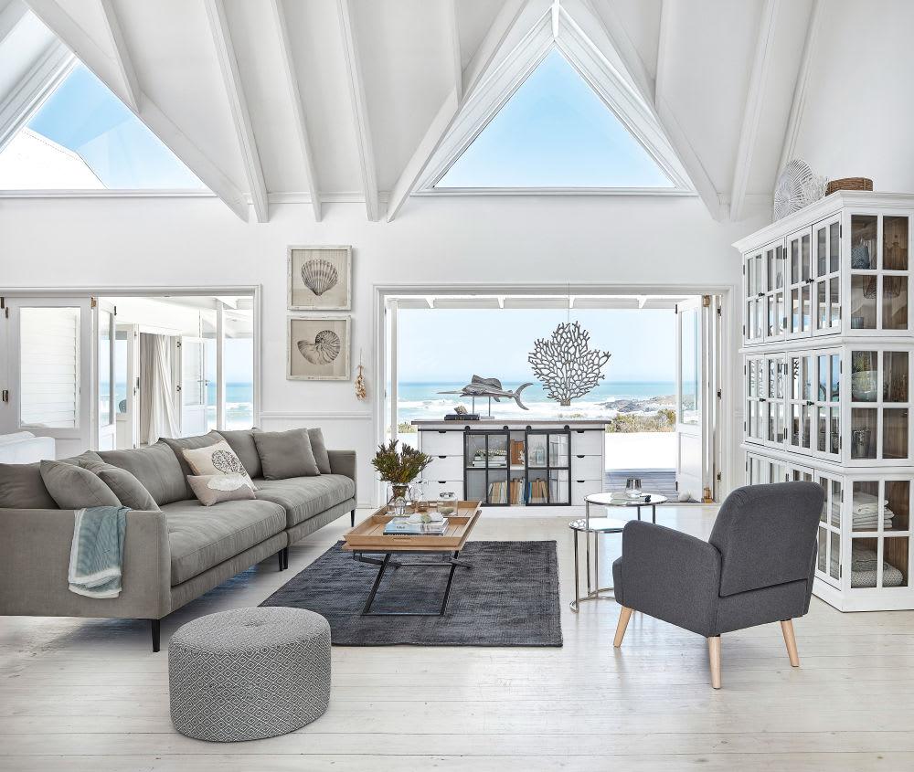 Chesterfield Maison Du Monde light grey 5/6-seater cotton and linen sofa | maisons du monde