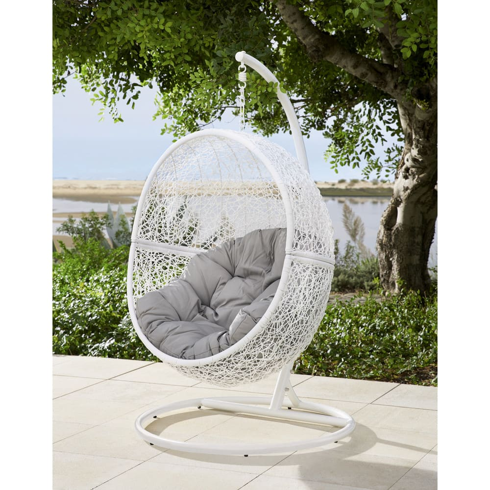 White Resin Wicker Hanging Garden Armchair Cocon Maisons Du Monde