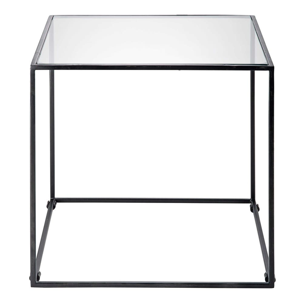 Black metal and tempered glass end table isma