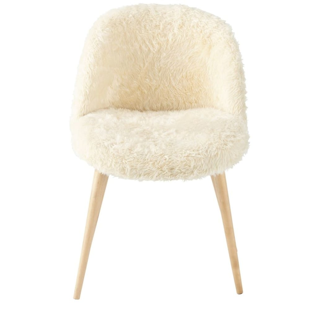 12f14d880a2 Ivory Faux Fur and Birch Vintage Chair Mauricette