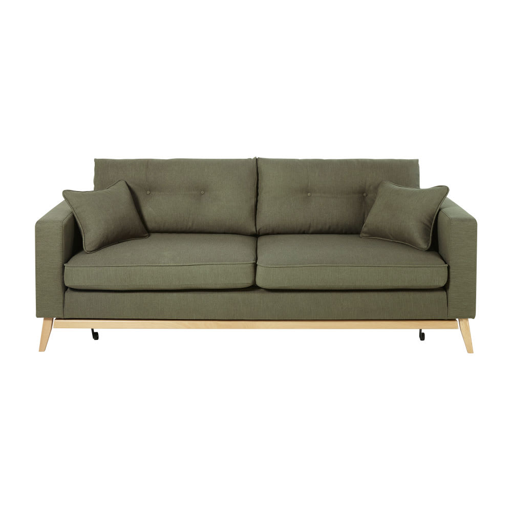 Khaki Green 3-Seater Scandinavian-Style Sofa Bed Brooke | Maisons du ...