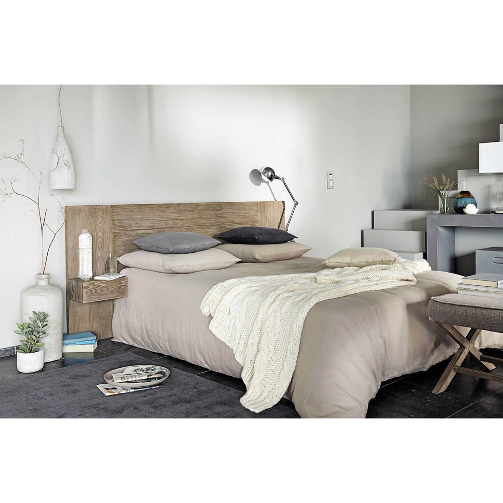 kissen aus grobem leinen grau 45x45 maisons du monde. Black Bedroom Furniture Sets. Home Design Ideas