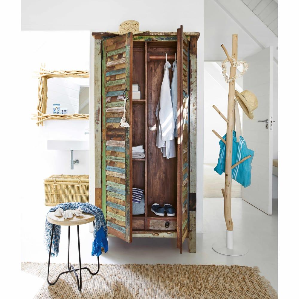 Kleiderschrank Aus Recyclingholz Bunt Calanque Maisons Du Monde