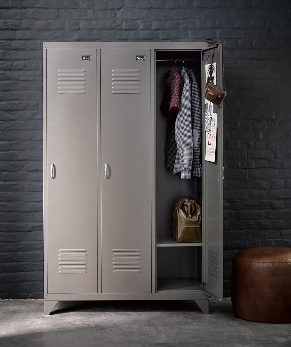 Kleiderschrank Spind Aus Grauem Metall Loft Maisons Du Monde
