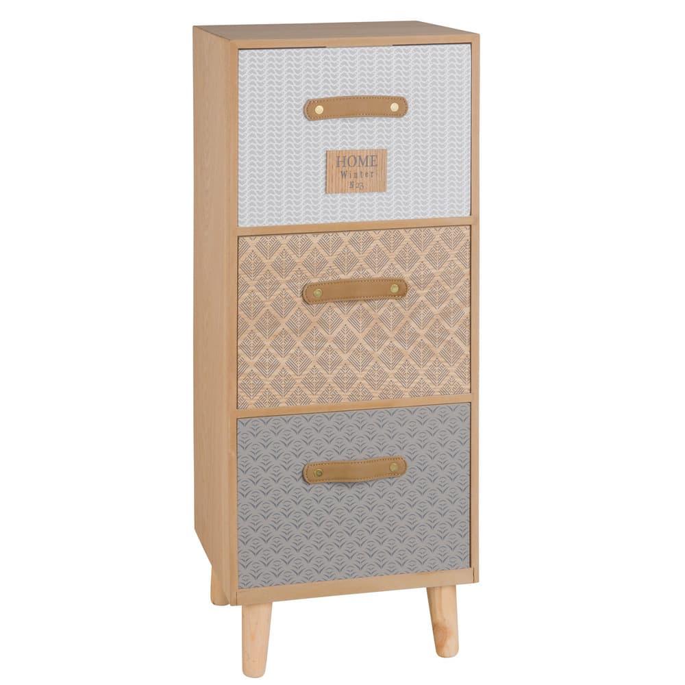kleines aufbewahrungsm bel mit 3 schubladen mit motiven linette maisons du monde. Black Bedroom Furniture Sets. Home Design Ideas