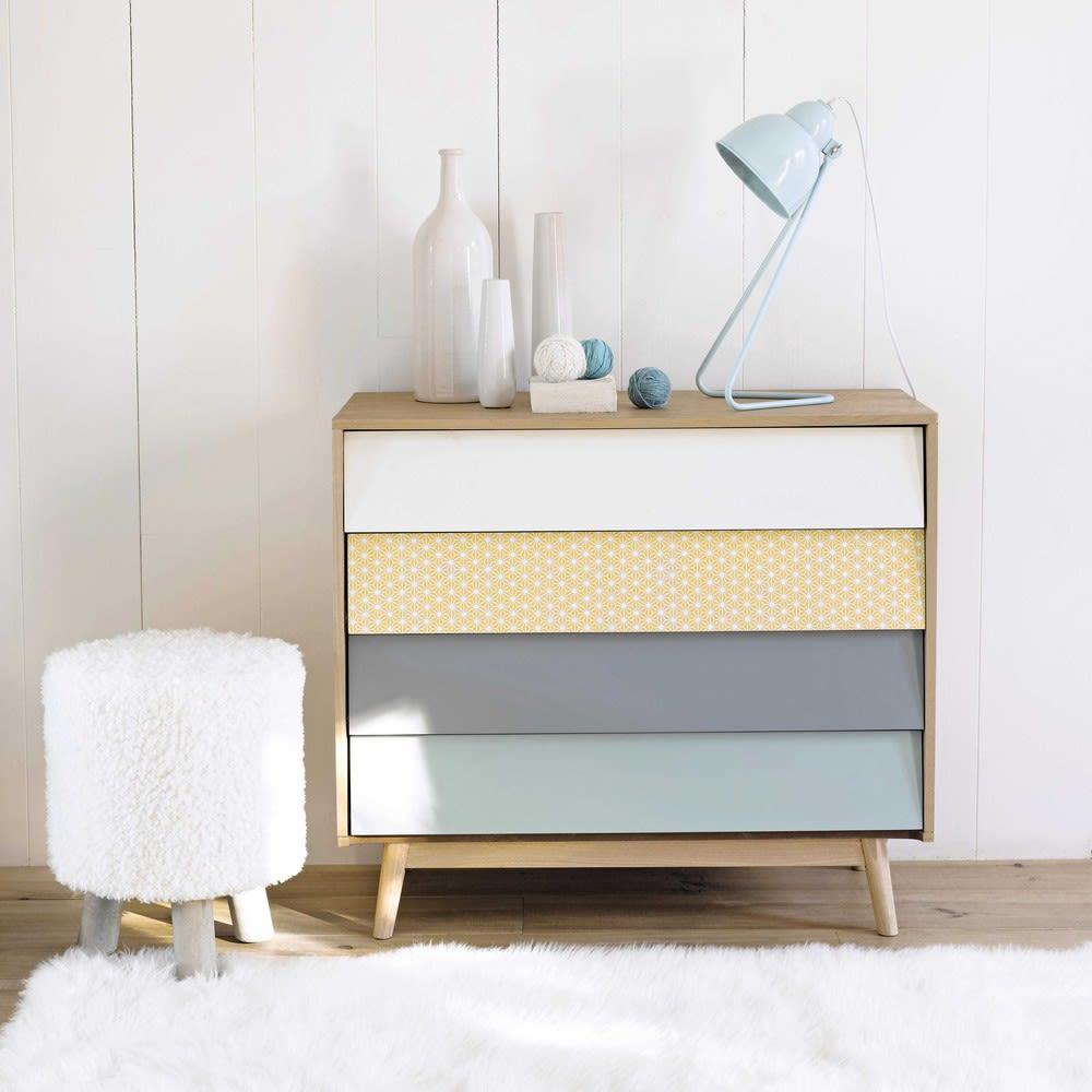 kommode im vintage stil mit 4 schublade bunt fjord. Black Bedroom Furniture Sets. Home Design Ideas