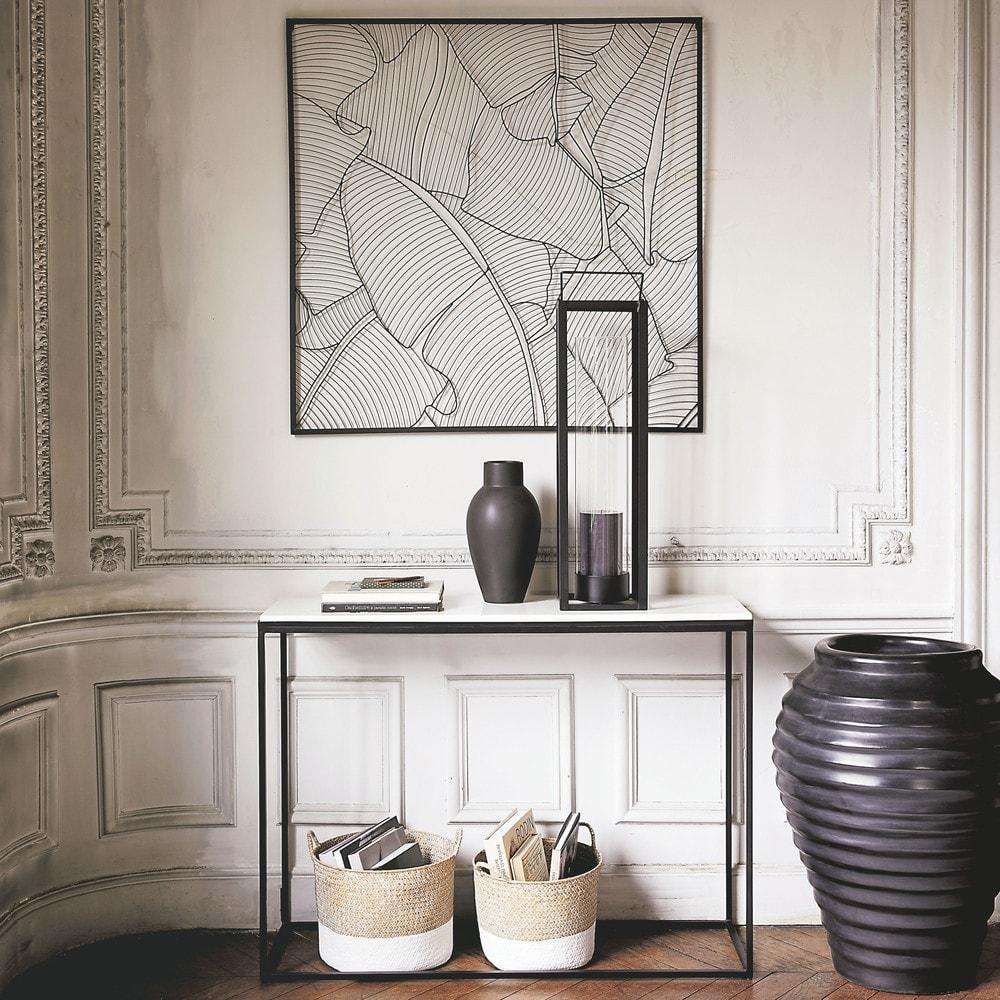 konsole aus wei em marmor und schwarzem metall marble. Black Bedroom Furniture Sets. Home Design Ideas