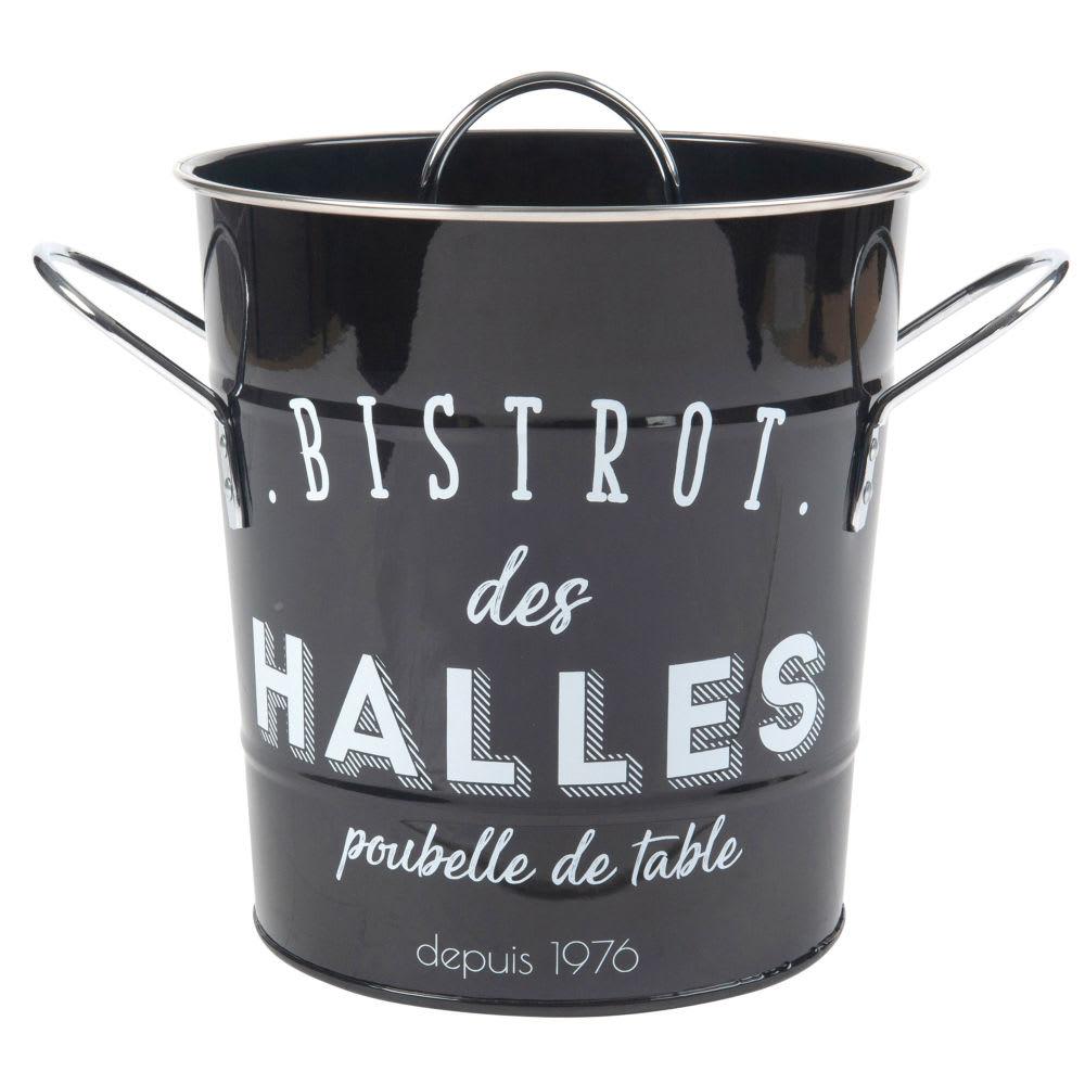 Kuchen Mulleimer Aus Schwarzem Metall Weiss Bedruckt Maisons Du Monde