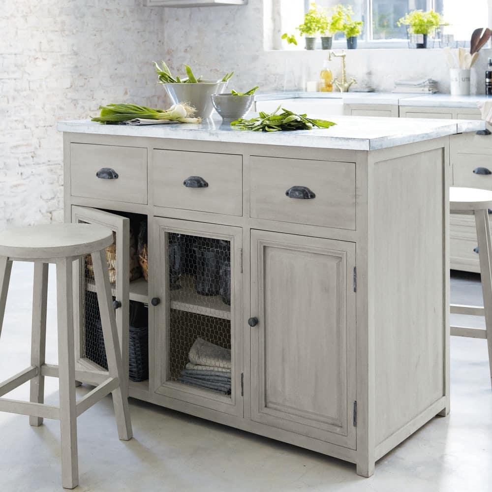 Kücheninsel + 2 Hocker aus Mangoholz, B 120 cm, grau Zinc   Maisons ...