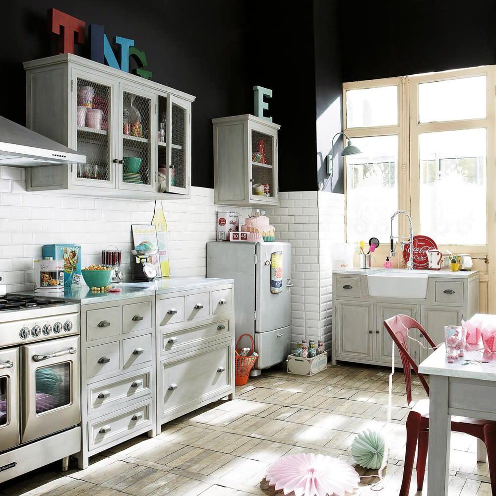 Küchenunterschrank aus Hevea-Holz, B 90 cm, grau Zinc   Maisons du Monde