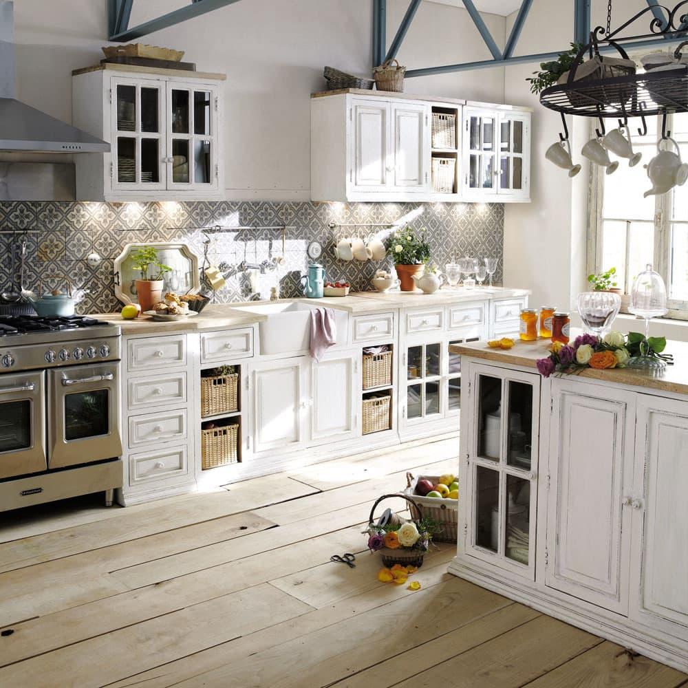 Küchenunterschrank aus Mangoholz mit Spüle, elfenbein Eleonore ...