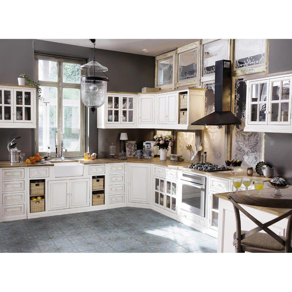Küchenunterschrank aus Mangoholz mit Spüle, elfenbein ...