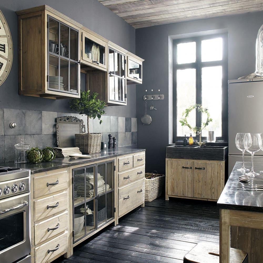 Küchenunterschrank aus recyceltem Kiefernholz mit Spüle Copenhague ...