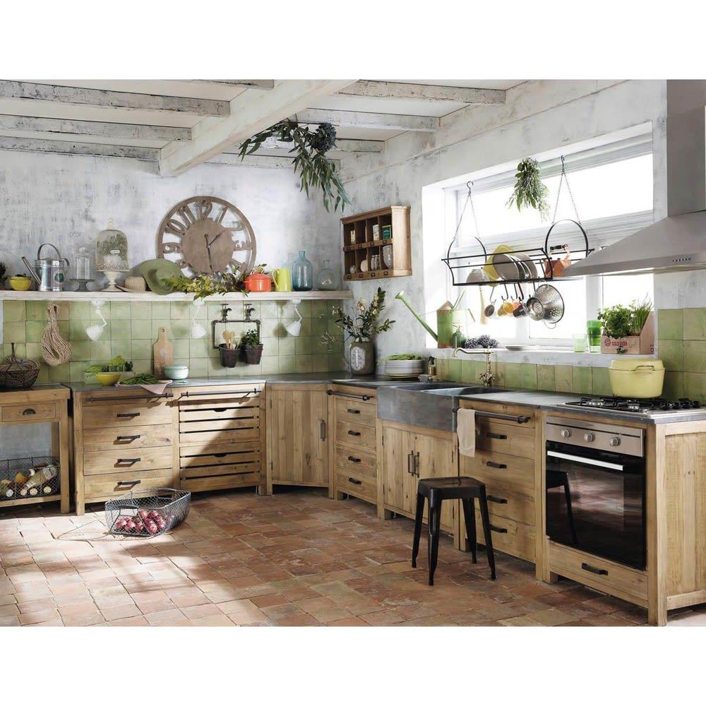 Küchenunterschrank aus recyceltem Kiefernholz mit Spüle, B90 Maquis ...