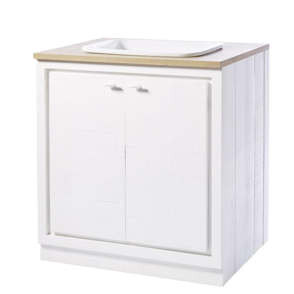 Küchenunterschrank mit Spülbecken und 20 Türen, weiß
