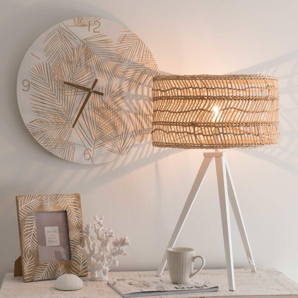 Lamp Van Wit Metaal Met Gevlochten Lampenkap Sarramea Maisons Du Monde