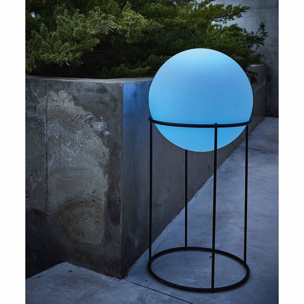 Lampada Da Giardino In Metallo Nero E Sfera Bianca N H 87cm New Moon