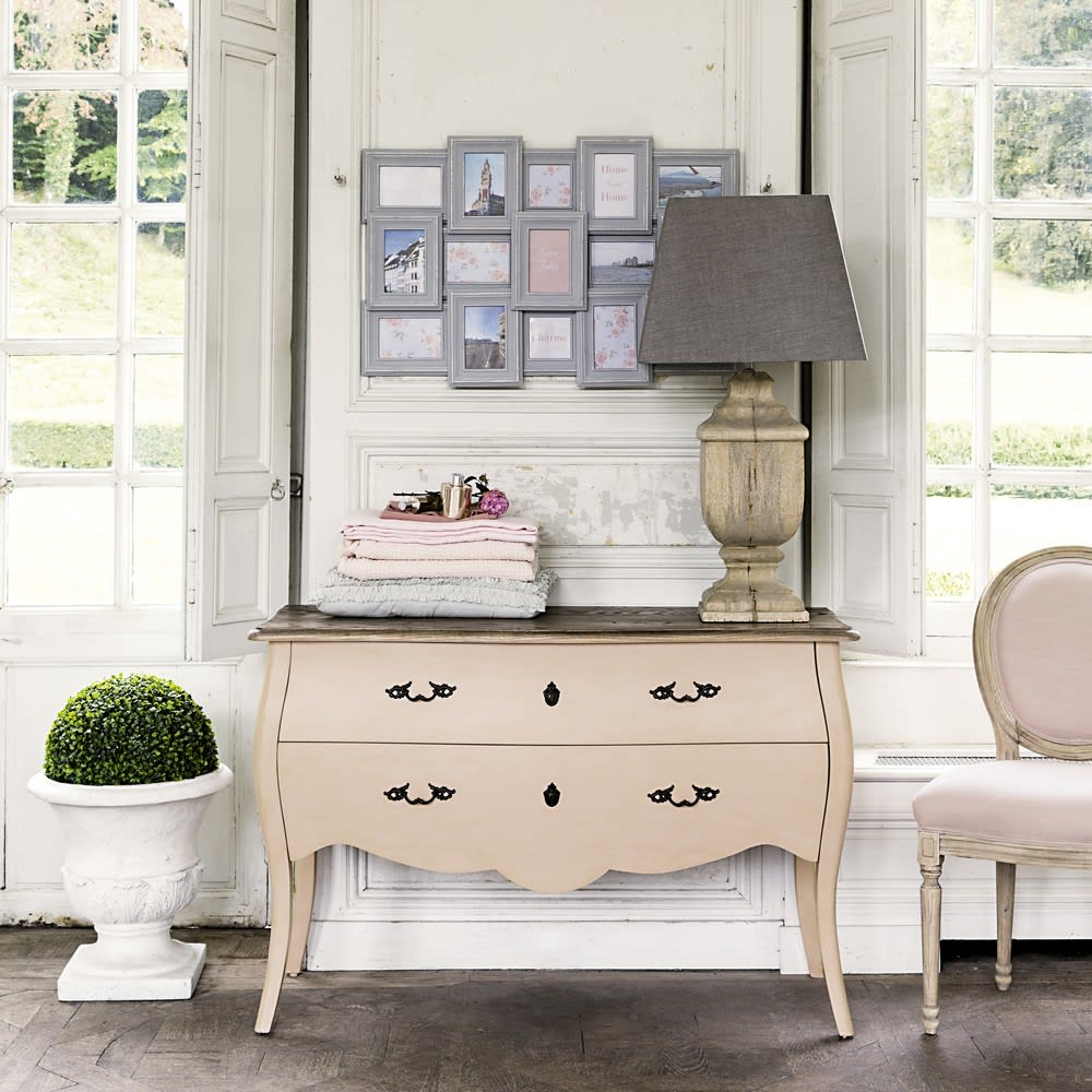 lampada in legno di mango e abat jour beige saumur. Black Bedroom Furniture Sets. Home Design Ideas