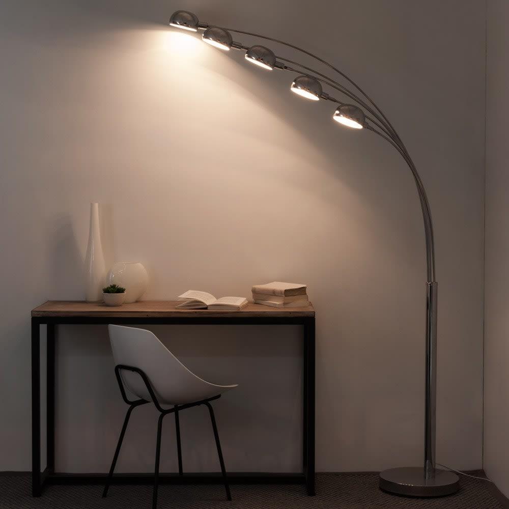 lampadaire 5 branches en m tal chrom h198 octopus. Black Bedroom Furniture Sets. Home Design Ideas