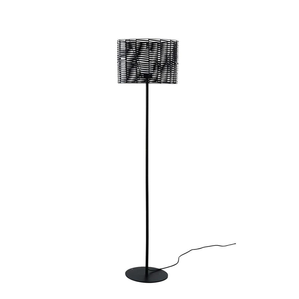 tambour - lampadaire d'extérieur en métal noir h160