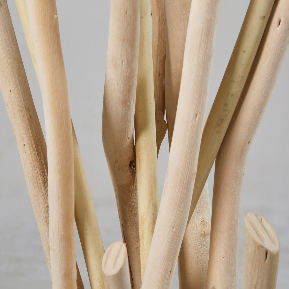 lampadaire en bois flott et abat jour blanc h159 nirvana. Black Bedroom Furniture Sets. Home Design Ideas