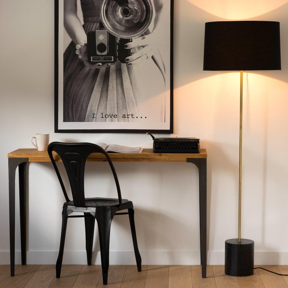 lampadaire en marbre et abat jour noir h142 aaron. Black Bedroom Furniture Sets. Home Design Ideas