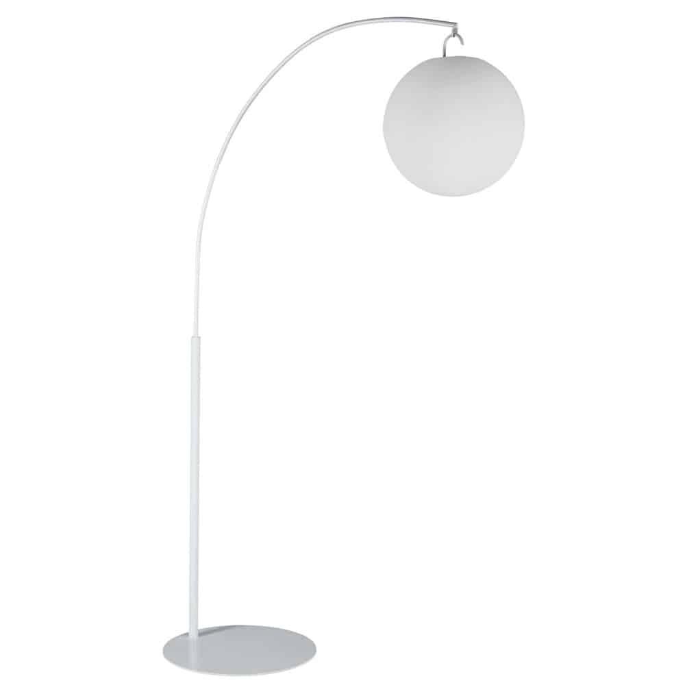 sphere - lampadaire en métal abat-jour blanc