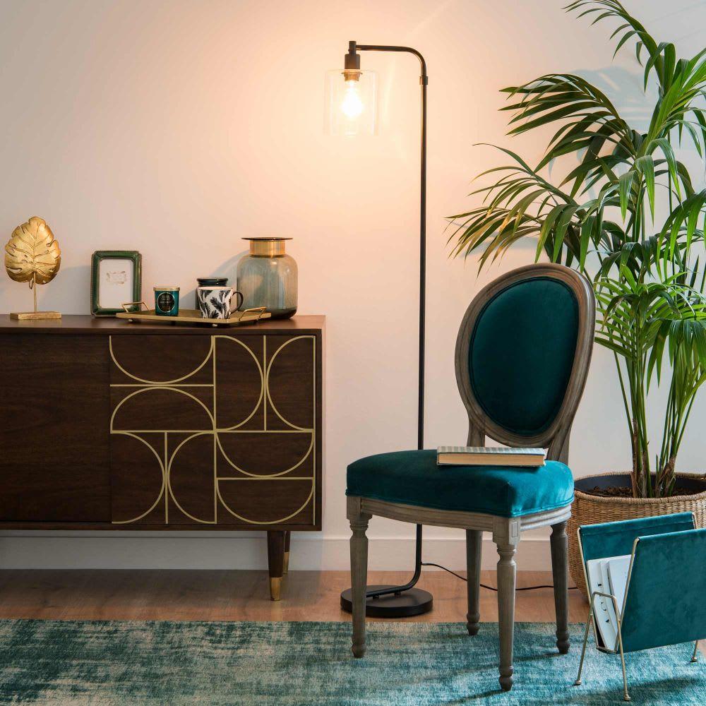 lampadaire en m tal dor et abat jour en verre h151. Black Bedroom Furniture Sets. Home Design Ideas