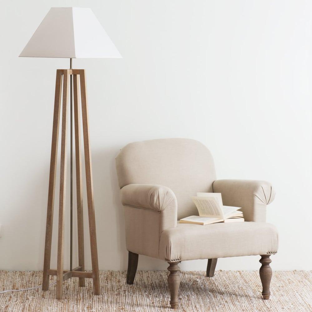 lampadaire en terminalier et abat jour blanc h155 square. Black Bedroom Furniture Sets. Home Design Ideas