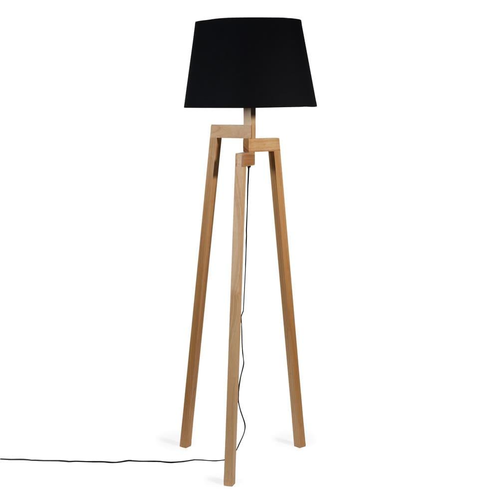 lampadaire tr pied en bois et tissu noir h 150 cm woodstock maisons du monde. Black Bedroom Furniture Sets. Home Design Ideas