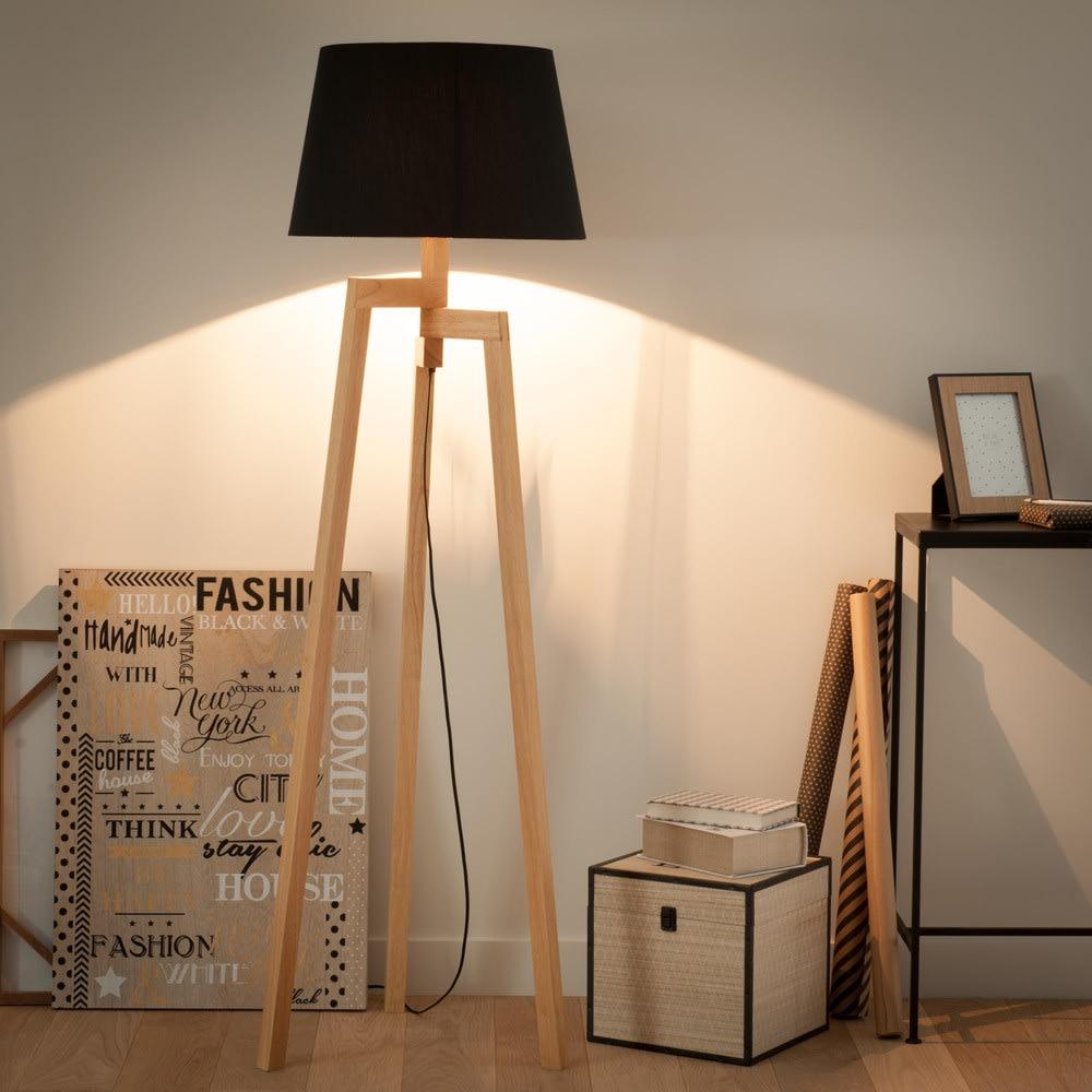 lampadaire tr pied en bois et tissu noir h 150 cm. Black Bedroom Furniture Sets. Home Design Ideas