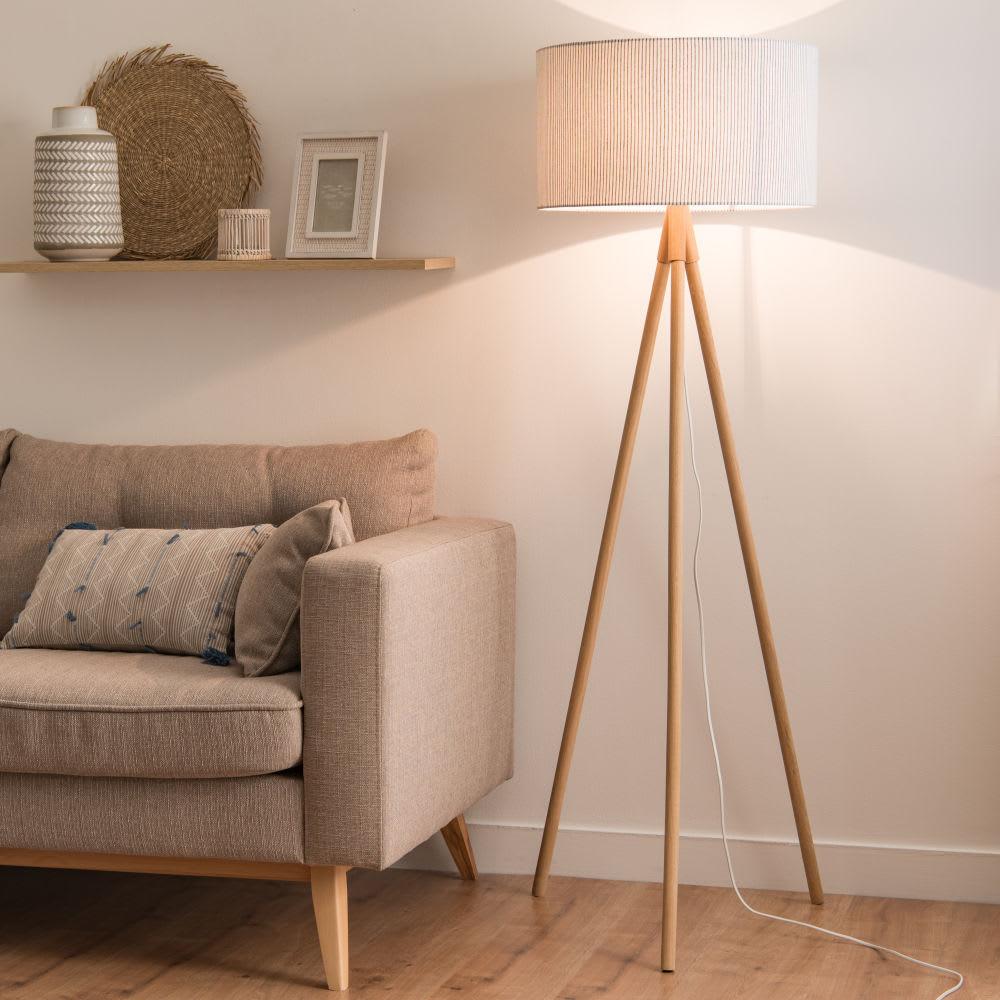 lampadaire tr pied en ch ne et abat jour gris rayures. Black Bedroom Furniture Sets. Home Design Ideas