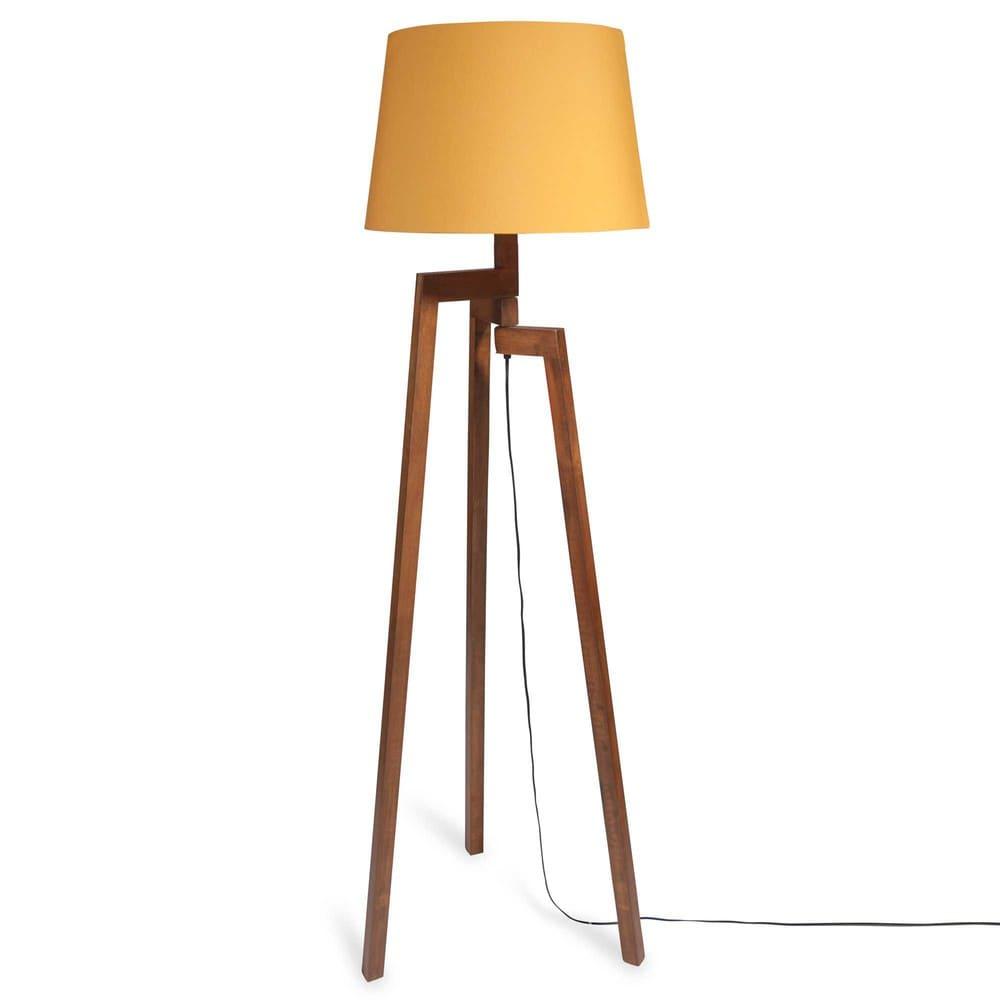 lampadaire tr pied en h v a et abat jour jaune moutarde h150 moutarde maisons du monde. Black Bedroom Furniture Sets. Home Design Ideas