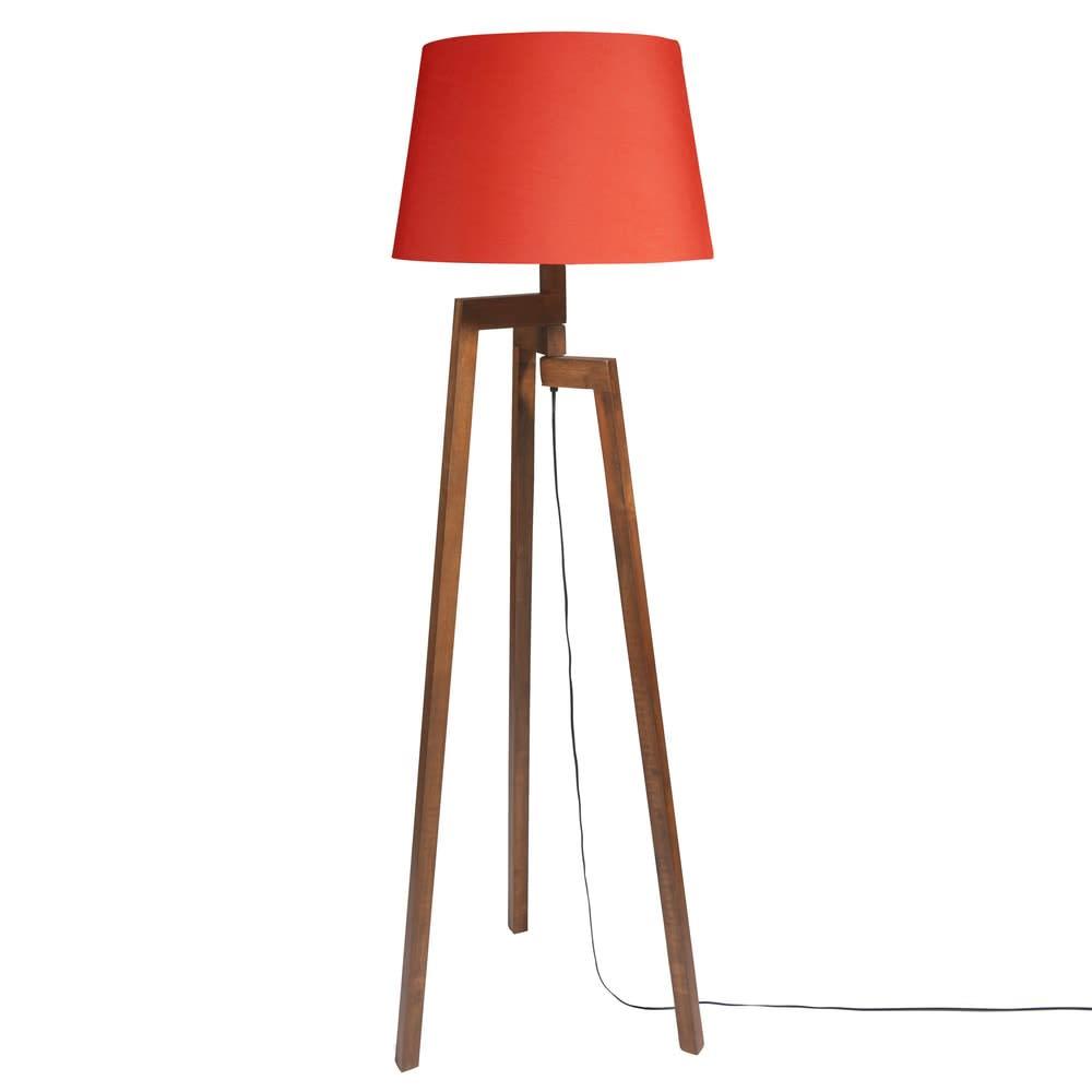 lampadaire tr pied en h v a et abat jour rouge h150. Black Bedroom Furniture Sets. Home Design Ideas