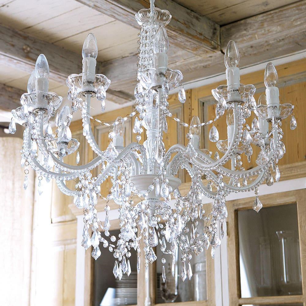lampadario con pendenti in metallo bianco 75 cm pampilles