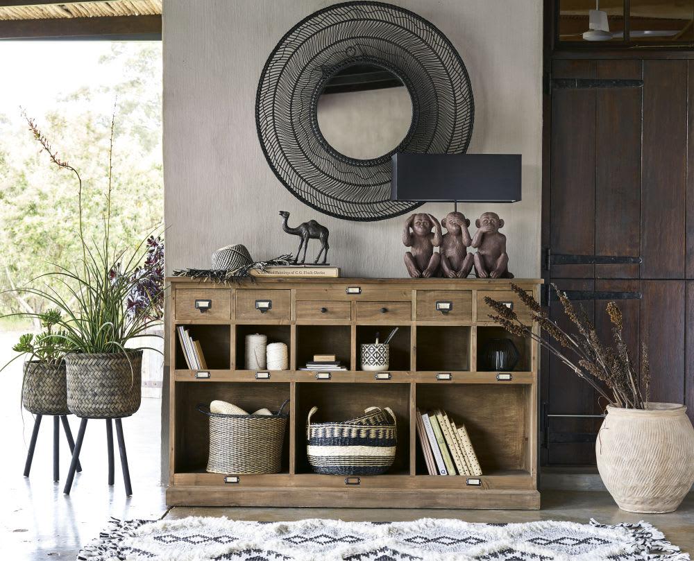 lampe 3 singes et abat jour noir gandhi maisons du monde. Black Bedroom Furniture Sets. Home Design Ideas