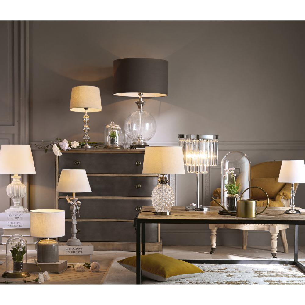 lampe ananas en verre abat jour beige malp maisons du monde. Black Bedroom Furniture Sets. Home Design Ideas