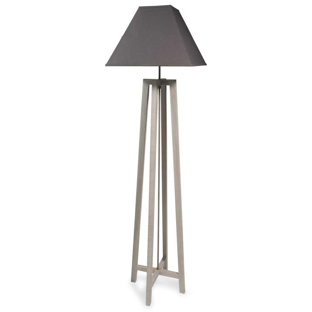 lampe aus holz mit grauem lampenschirm h 155 cm square. Black Bedroom Furniture Sets. Home Design Ideas
