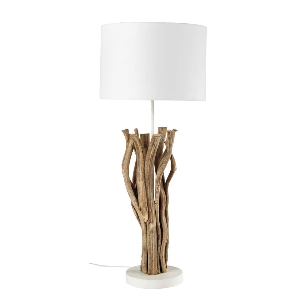 lampe aus holz mit lampenschirm aus wei em stoff islande. Black Bedroom Furniture Sets. Home Design Ideas