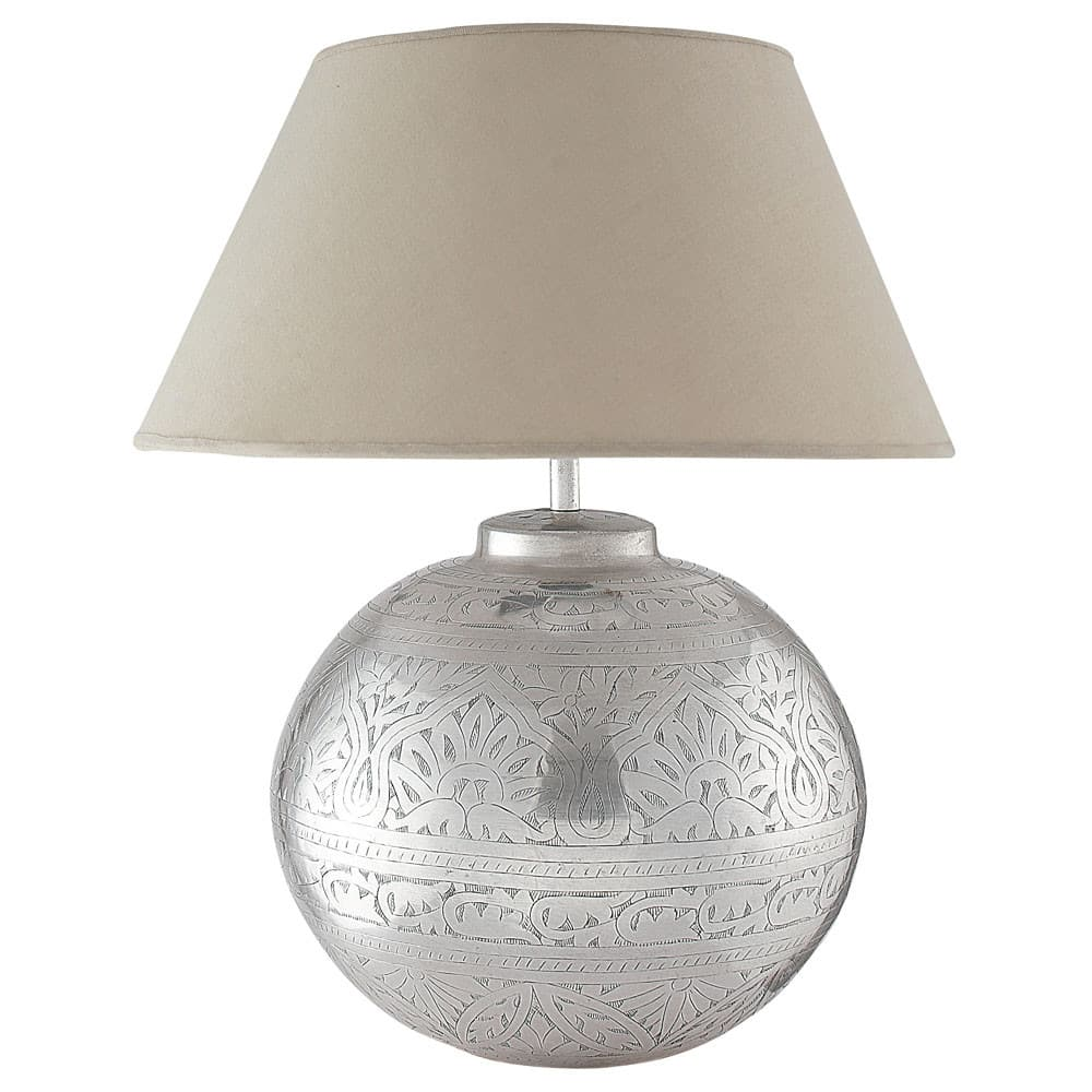 Lampe Aus Messing Mit Lampenschirm Aus Stoff H50 Salvador Maisons