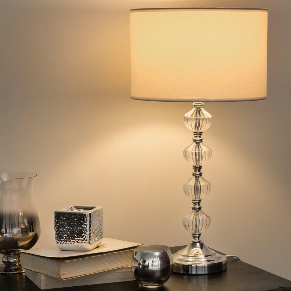 lampe avec pied en verre et abat jour en tissu blanc h 53 cm montmarault maisons du monde