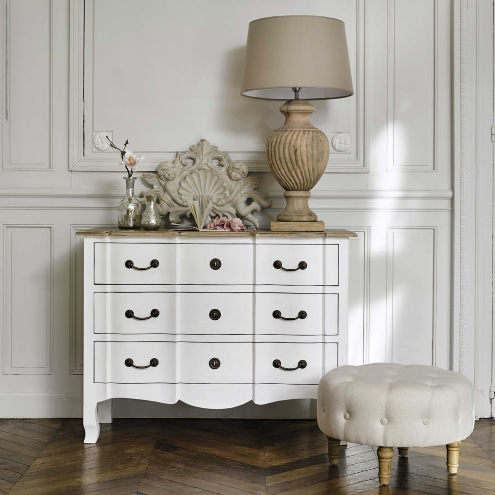 lampe aus geschnitztem holz mit lampenschirm aus stoff h. Black Bedroom Furniture Sets. Home Design Ideas